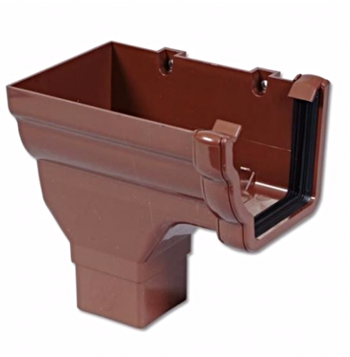 Ogee Left Hand Stop End Outlet Floplast Brown RON2